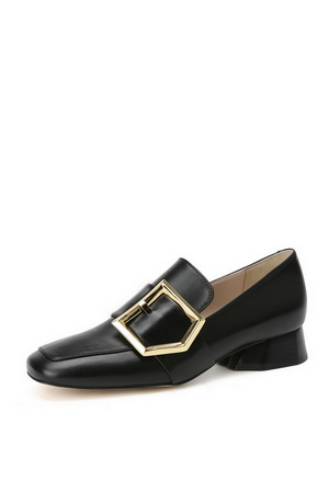 [셀럽착용] Polygons belted low loafer(black)