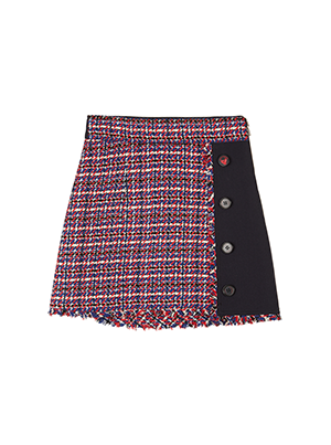 Tweed Colorblock Mini Skirt
