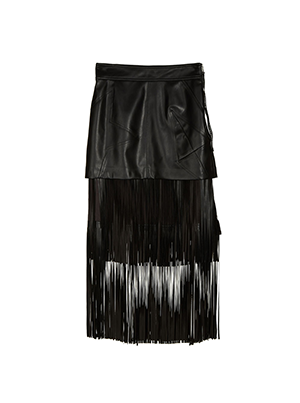 [JDC pour Lucky] Fringe Fake Leather Skirt