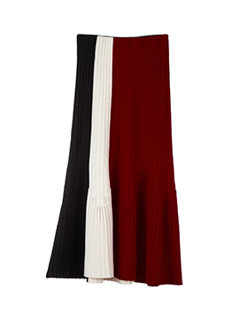 Colorblock Long Knit Skirt