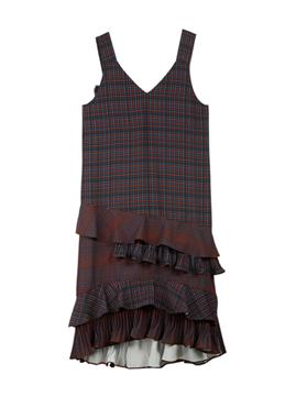 Check Ruffle Sleeveless Dress