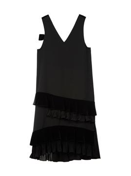 Velvet Combi Ruffle Sleeveless Dress