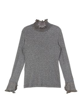 Color Line Ruffle Slim-fit T-shirt